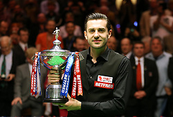 Mark Selby celebrates winning the Betfred Snooker World Championship on day seventeen of the Betfred Snooker World Championships at the Crucible Theatre, Sheffield.