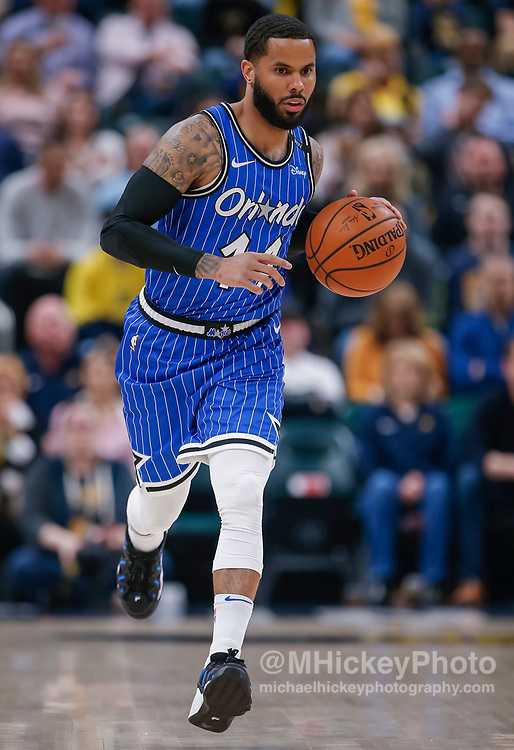 INDIANAPOLIS, IN - MARCH 30: D.J. Augustin #14 of the Orlando Magic brings the ball up court during the game against the Indiana Pacers at Bankers Life Fieldhouse on March 30, 2019 in Indianapolis, Indiana. NOTE TO USER: User expressly acknowledges and agrees that, by downloading and or using this photograph, User is consenting to the terms and conditions of the Getty Images License Agreement.(Photo by Michael Hickey/Getty Images) *** Local Caption *** D.J. Augustin