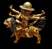 Statuette of  Pe-har. 18th century figure in brass. Chinese or Tibetan. According to Tibetan Buddhist myth, Gyalpo Pehar  is a spirit belonging to the gyalpo class. When Padmasambhava arrived in Tibet in the eighth century, he subdued all gyalpo spirits and put them under control of Gyalpo Pehar, who promised not to harm any sentient beings and was made the chief guardian spirit of the Samye Temple built at that time.
