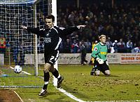 Photo: Chris Ratcliffe.<br /> Colchester United v Swansea City. LDV Vans Trophy. 14/03/2006.<br /> Leon Britton of Swansea celebrates scoring the Swansea equaliser