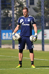 24.04.2014, Veltins Arena, Gelsenkirchen, GER, 1. FBL, Training Schalke 04, im Bild Torhueter Ralf Faehrmann ( Schalke 04 ) mit zwei Baellen im Arm. // during a Trainingsession of German Bundesliga Club Schalke 04 at the Veltins Arena in Gelsenkirchen, Germany on 2014/04/24. EXPA Pictures © 2014, PhotoCredit: EXPA/ Eibner-Pressefoto/ Thienel<br /> <br /> *****ATTENTION - OUT of GER*****