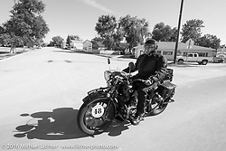 Bartek Mizerski riding his 1936 Sokol 1000 Polish motorcycle during Stage 9 (249 miles) of the Motorcycle Cannonball Cross-Country Endurance Run, which on this day ran from Burlington to Golden, CO., USA. Sunday, September 14, 2014.  Photography ©2014 Michael Lichter.