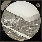 Magic lantern slide of Hotel Pension Meyerhof in village of Hospenthal, Switzerland, circa 1900