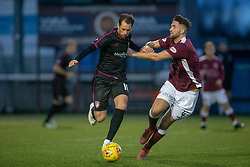 Arbroath's Gavin Swankie and Stenhousemuir's Morgan Neill. Stenhousemuir 1 v 4 Arbroath, Scottish Football League Division One play12/1/2019 at Ochilview Park.
