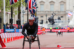 © Licensed to London News Pictures. 28/04/2019. London, UK. Switzerland's Marcel Hug finished second at the men's wheelchair race at the London Marathon 2019. Photo credit: Dinendra Haria/LNP