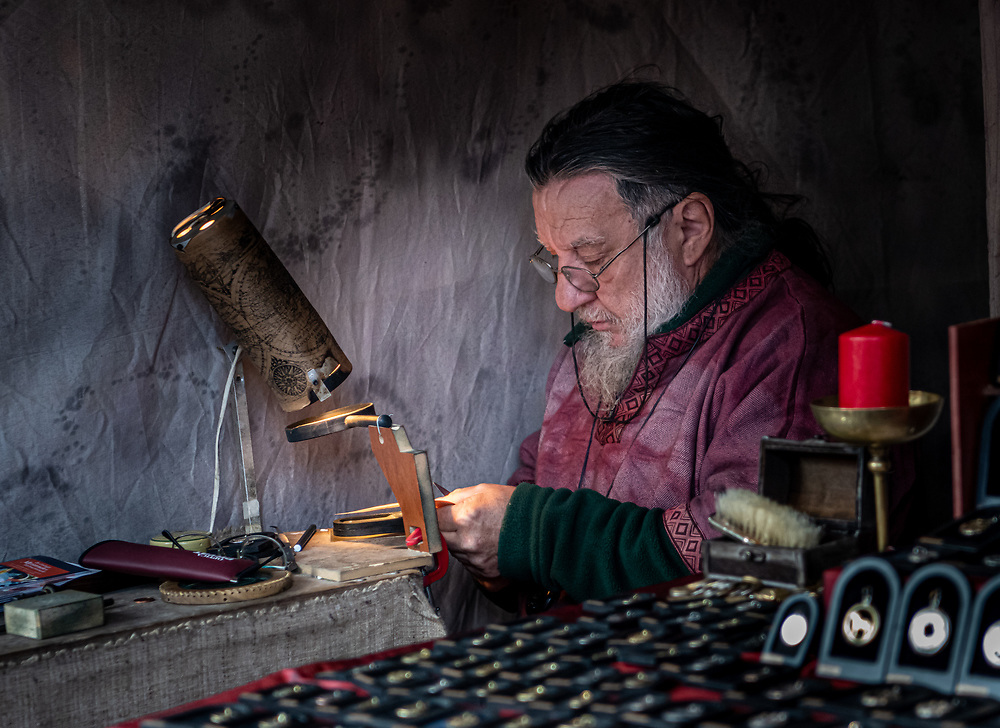 Portrait of a goldsmith at the Medieval Christmas Market in Esslingen
