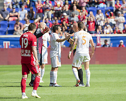 September 30, 2018 - Harrison, New Jersey, United States - Atlanta United FC players argue with referee Robert Sibiga about penalty against them during regular MLS game against Red Bulls at Red Bull Arena Red Bulls won 2 - 0 (Credit Image: © Lev Radin/Pacific Press via ZUMA Wire)