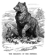 The Breaking of the Fetters. (the Russian bear knocks over the chain fence of German Influence during WW1)