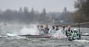 Putney. London,  Great Britain.<br /> CUWBC. Blue Boat, rowing through a stretch of rough water [Tide vs Wind].<br /> 2016 Tideway Week, Putney. Putney Embankment, Championship Course. River Thames.<br /> <br /> Saturday  26/03/2016 <br /> <br /> [Mandatory Credit; Peter SPURRIER/Intersport-images]