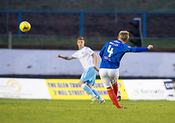 Cowdenbeath's Fraser Mullen (4) scoring their goal.  half time : Cowdenbeath 1 v 2 Forfar Athletic, Scottish Football League Division Two game played 17/12/2016 at Central Park.