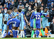 Kelechi Iheanacho of Manchester City is restrained as he tries to get to Nathaniel Chalobah of Chelsea during the Premier League match at the Etihad Stadium, Manchester. Picture date: December 3rd, 2016. Pic Simon Bellis/Sportimage