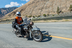 David Lloyd riding his 1919 Harley-Davidson during Stage 14 - (284 miles) of the Motorcycle Cannonball Cross-Country Endurance Run, which on this day ran from Meridian to Lewiston, Idaho, USA. Friday, September 19, 2014.  Photography ©2014 Michael Lichter.