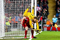 Jan Oblak of Atletico Madrid is challenged by James Milner of Liverpool - Mandatory by-line: Robbie Stephenson/JMP - 11/03/2020 - FOOTBALL - Anfield - Liverpool, England - Liverpool v Atletico Madrid - UEFA Champions League Round of 16, 2nd Leg