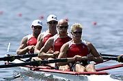 20040814 Olympic Games Athens Greece [Rowing]<br />  Photo  Peter Spurrier. <br /> CAN M4- ,  Bow Cameron Baerg, Thomas Herschmille, Jake Wetzel and Barney Williamsr moves off the start on the opening day of the Olympic regatta.<br /> <br /> email;  images@intersport-images.com<br /> Tel +44 7973 819 551<br /> T<br /> <br /> <br />  *** Local Caption *** ©Peter Spurrier Intersport Images.<br /> email images@intersport-images.com<br /> Tel +44 7973 819 551[Mandatory Credit Peter Spurrier/ Intersport Images]