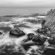 Rocky Point Heavy Surf - Big Sur, CA - Black & White
