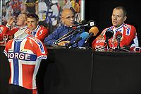 Sykkel<br /> VM 2011<br /> Foto: PhotoNews/Digitalsport<br /> NORWAY ONLY<br /> <br /> 20.09.2011<br /> <br /> Edvald BOASSON HAGEN (NOR) - Thor HUSHOVD (NOR) Cyclisme : Equipe de Norvege - Conference de presse - Championnat du monde sur route UCI - 20.09.2011