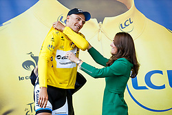Marcel Kittel of Germany and Team Giant-Shimano is presented by the leaders Yellow Jersey by HRH Duchess of Cambridge Kate Middleton on the podium having won Stage 1 of the Tour de France in Harrogate - Photo mandatory by-line: Rogan Thomson/JMP - 07966 386802 - 05/07/2014 - SPORT - CYCLING - Harrogate, North Yorkshire - Le Tour de France Grand Depart Stage 1, Leeds to Harrogate.