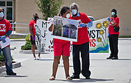 Robert Taylor, founder of the Concerned Citizens of St. John with Sharon Lavinge, the foundo f RISE St. James, at a protest  calling for the Govonor to shut down petrochemical plants in St. James and St. John the Baptist Parish where African Americans exsposed to pollution are dying at fast rate from COVID-19, on April 11, 2020 in front of the St. John the Baptist Government Building in LaPlace.Louisana
