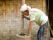 A Laoseng ethnic minority woman prepares wild vegetables for cooking using a wooden pestle and mortar in the remote and roadless village of Ban Phoumeuang, Phongsaly province, Lao PDR. Ban Phoumeuang will soon be relocated away from the Nam Ou river due to construction of the Nam Ou Cascade Hydropower Project Dam 6.