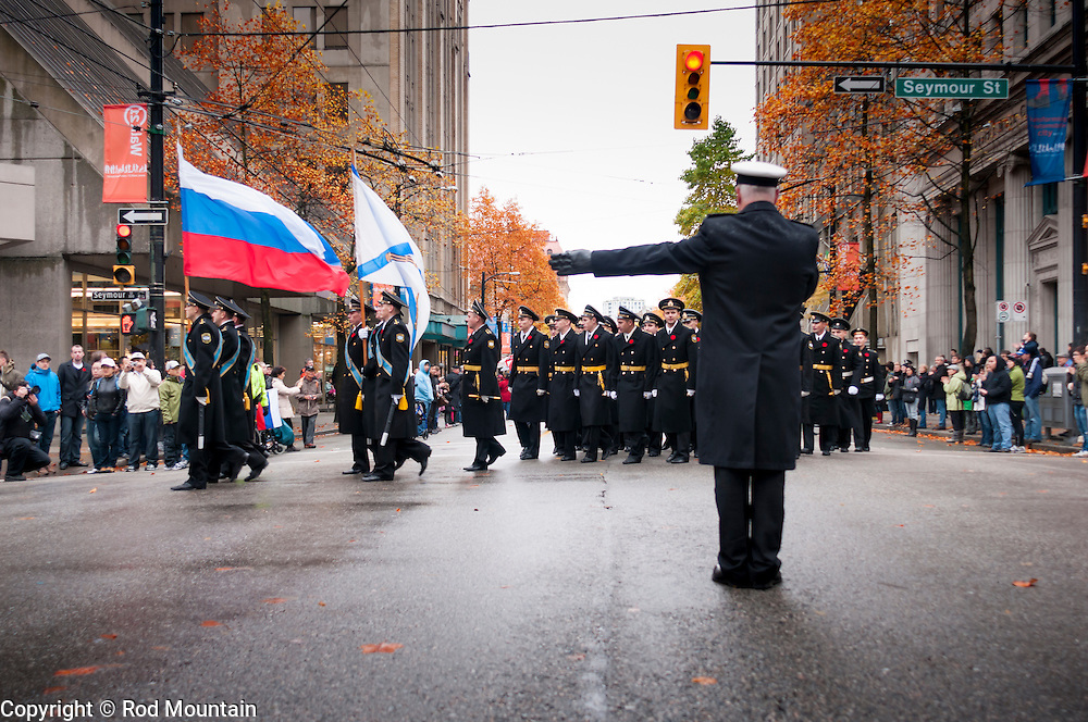 November 11, 2011 - Russian sailors participate in Vancouver's Remembrance Day ceremony and parade in 2011, marking the first time in 35 years that a Russian fighting ship has appeared in the Vancouver harbour.<br /> <br /> Photo: © 2011 Rod Mountain<br /> <br /> http://www.rodmountain.com<br /> <br /> @rod_mountain