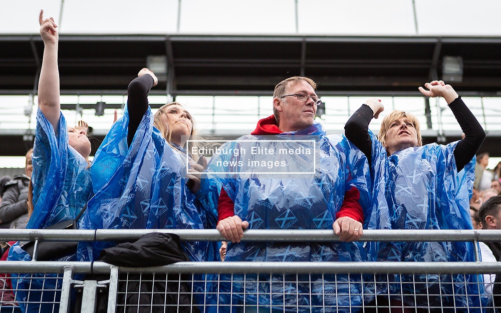 The Proclaimers at Edinburgh Castle 21 July 2019; The Proclaimers play their home town with a live show at Edinburgh Castle. The wet and windy weather doesn't stop the fans enjoying The Proclaimers live show.<br /> <br /> (c) Chris McCluskie | Edinburgh Elite media
