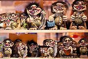 Traditional trolls on display in Tromso Gift and Souvenir Shop in Strandgata in Tromso, Norway