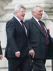 © London News Pictures.17/04/2013. London, UK.  Falklands serviceman Simon Weston (left) arriving at St Paul's Cathedral in London for The Funeral of former British Prime Minister, Margaret Thatcher on April 17, 2013. Photo credit : Ben Cawthra/LNP