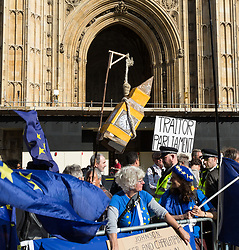 An effigy of big Ben dangles from a hangman's noose as Parliament debates a move by MPs to get an extension to Article 50 rather than allowing the Government to leave the EU without a deal on October 31st. London, September 04 2019.