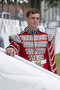 Henley on Thames, England, United Kingdom, Tuesday, 02.07.19, Bugler, of the Coldstream Guards, Henley Royal Regatta,  Henley Reach, [©Karon PHILLIPS/Intersport Images]<br /> <br /> 13:37:13 1919 - 2019, Royal Henley Peace Regatta Centenary,