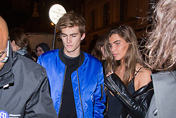 Cindy Crawford's son Presley Gerber and his new girlfriend arriving at YSL BEAUTY HOTEL event against Paris Fashion Week Men's on January 17, 2018 in Paris, France. Photo by Nasser Berzane/ABACAPRESS.COM