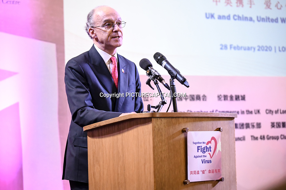 Speaker Lord Sassoo is a President of China Britain Business Council at China-UK United We Stand together to fights the #Covid19 at Guildhall, on 28th February 2020, London, UK.