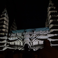 Artistic lights illuminate the local cathedral during a light painting show at the Zsolnay Light Festival held in central Pecs, Hungary on June 30, 2018. ATTILA VOLGYI