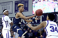 HIGH POINT, NC - JANUARY 06: Charleston Southern's Christian Keeling (11) and High Point's Jordan Whitehead (34). The High Point University of Panthers hosted the Charleston Southern University Buccaneers on January 6, 2018 at Millis Athletic Convocation Center in High Point, NC in a Division I men's college basketball game. HPU won the game 80-59.
