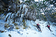 Having a look around the giant icicles that form on this cliff.