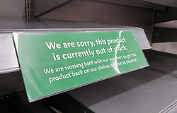 © Licensed to London News Pictures. 21/09/2021. London, UK. 'We are sorry, this product is currently out of stock' sign displayed on an empty shelf of sparkling bottled water in Morrisons, north London, Fears of food shortages grow after two of the UK's biggest Carbon Dioxide (CO2) producers halted production last week due to soaring gas prices. UK food producers and supermarkets are warning that shoppers are likely to face food shortage caused by a lack of gas could hit this week. Photo credit: Dinendra Haria/LNP