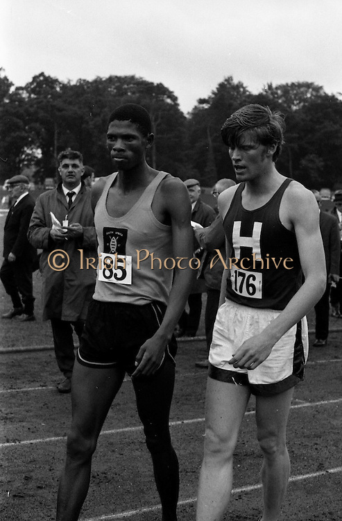 17/07/1967<br /> 07/17/1967<br /> 17 July 1967<br /> International Athletics at Santry Stadium, Dublin. Keith Coburn (176) who won the Men's 880 yes International race chatting with South African H. Khosi who finished 3rd.