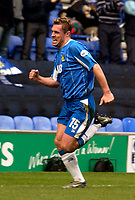 Photo. Jed Wee.<br /> Wigan Athletic v Crystal Palace, Nationwide League Division One, JJB Stadium, Wigan. 01/11/03.<br /> Wigan's Geoff Horsfield celebrates his goal.