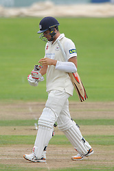 Benny Howell of Gloucestershire cuts a dejected figure as he is caught out by Jason Roy of Surrey  - Mandatory byline: Dougie Allward/JMP - 07966386802 - 21/08/2015 - Cricket - County Ground -Bristol,England - Gloucestershire CCC v Surrey CCC - LV= COUNTY CHAMPIONSHIP