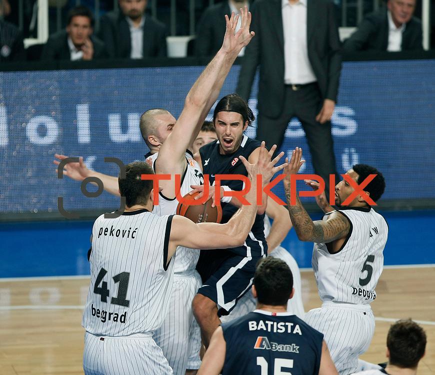 Anadolu Efes's Sasha VUJACIC (C) during their Turkish Airlines Euroleague Basketball Group C Game 6 match Anadolu Efes between Partizan at Sinan Erdem Arena in Istanbul, Turkey, Wednesday, November 23, 2011. Photo by TURKPIX