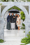The Al Brari, Beauty of Islam Garden by Kamelia Bin Zaal (here with her brothers and father). RHS Chelsea Flower Show, Chelsea Hospital, London UK, 18 May 2015.