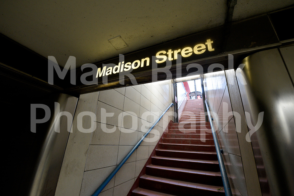 Madison Street CTA subway station stairs in Chicago, Illinois. Photo by Mark Black