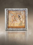 Picture of a Roman mosaics design depicting a Satyr persuing Bacchante, from the ancient Roman city of Thysdrus. End of 2nd century AD, House in Jiliani Guirat area. El Djem Archaeological Museum, El Djem, Tunisia. Against an art background .<br /> <br /> If you prefer to buy from our ALAMY PHOTO LIBRARY Collection visit : https://www.alamy.com/portfolio/paul-williams-funkystock/roman-mosaic.html . Type - El Djem - into the LOWER SEARCH WITHIN GALLERY box. Refine search by adding background colour, place, museum etc<br /> <br /> Visit our ROMAN MOSAIC PHOTO COLLECTIONS for more photos to download as wall art prints https://funkystock.photoshelter.com/gallery-collection/Roman-Mosaics-Art-Pictures-Images/C0000LcfNel7FpLI
