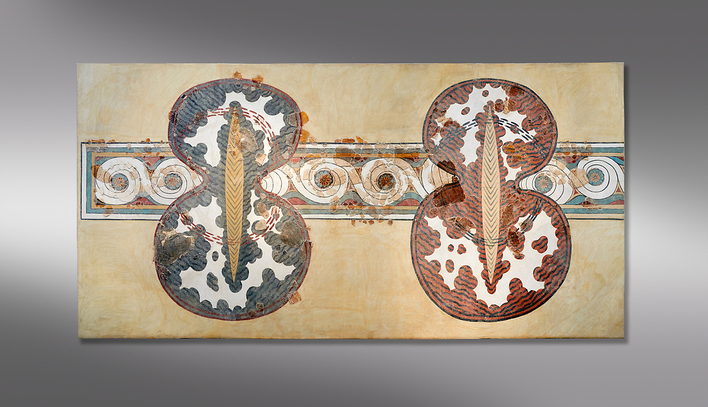 Minoan wall art fresco of a 'figure of eight' shield from Knossos Palace, 1450-1300 BC. Heraklion Archaeological Museum.  Grey Background. <br /> <br /> <br /> The Final Palatial Period Minoan fresco is from the Grand Staircase of the Palace of Knossos and is a Trompe-l'œil  of minoan warriors shields covered with ox hide. .<br /> <br /> If you prefer to buy from our ALAMY PHOTO LIBRARY  Collection visit : https://www.alamy.com/portfolio/paul-williams-funkystock/minoan-art-artefacts.html . Type -   Heraklion   - into the LOWER SEARCH WITHIN GALLERY box. Refine search by adding background colour, place, museum etc<br /> <br /> Visit our MINOAN ART PHOTO COLLECTIONS for more photos to download  as wall art prints https://funkystock.photoshelter.com/gallery-collection/Ancient-Minoans-Art-Artefacts-Antiquities-Historic-Places-Pictures-Images-of/C0000ricT2SU_M9w