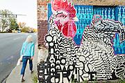 Molly Must chicken processing mural in Asheville, North Carolina.