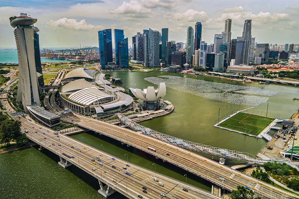 City of Singapore & Marina Bay featuring the Wishing Spheres for New Year's 2014