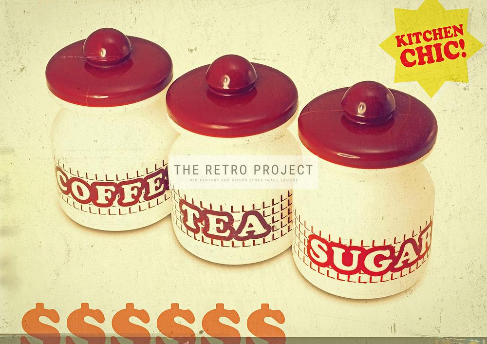 Vintage coffee, tea and sugar kitchen set retro photo illustration on cream background
