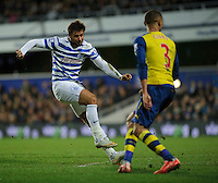 Queens Park Rangers' Charlie Austin scores his sides goal  in the 2-1 defeat<br /> <br /> Photographer Ashley Western/CameraSport<br /> <br /> Football - Barclays Premiership - Queens Park Rangers v Arsenal - Wednesday 4th March 2015 - Loftus Road - London<br /> <br /> © CameraSport - 43 Linden Ave. Countesthorpe. Leicester. England. LE8 5PG - Tel: +44 (0) 116 277 4147 - admin@camerasport.com - www.camerasport.com