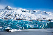 Ice blocks of glacial tongue of Svinafellsjokull glacier an outlet glacier of Vatnajokull, the largest ice cap in Europe, South Iceland