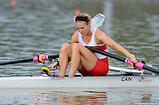 Chungju, South Korea. Sunday Heats, CAN. LW1X. Patricia OBEE. moves away from the start on the opening day of the 2013 FISA World Rowing Championships, Tangeum Lake International Regatta Course. 10:33:00  Sunday  25/08/2013 [Mandatory Credit. Peter Spurrier/Intersport Images]