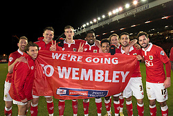 Bristol City players celebrate getting to wembley after beating Gillingham in the Johnstone Paint Trophy area southern final - Photo mandatory by-line: Dougie Allward/JMP - Mobile: 07966 386802 - 29/01/2015 - SPORT - Football - Bristol - Ashton Gate - Bristol City v Gillingham - Johnstone Paint Trophy